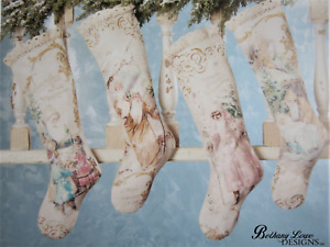 Victorian Santa Lace Trim Christmas Stocking by Bethany Lowe Designs $24.50
