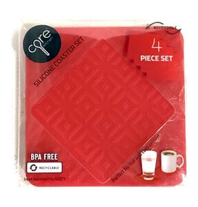 Core Kitchen Textured Red Silicone Coaster Set of 4 Reversible 4""