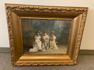Beautiful antique Lithograph and frame 1901 James Arthur 3 Ladies $425.00