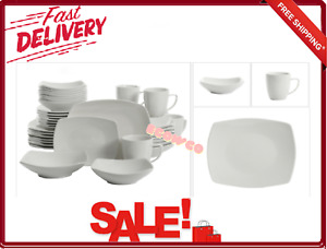 Gibson Home Square Expanded 40 Piece Dinnerware Set Dinner Plates Bowls Mugs New
