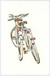 Original Watercolor Painting 9 x 6quot; Bicycle Not ACEO $10.00