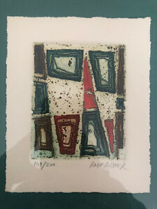 Signed Mid Century Abstract Eiffel Tower Etching Print by Suzanne Runacher $119.00