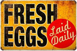 Fresh Eggs Laid Daily Tin Signs Metal Plate Decor Art Wall Poster Vintage Look