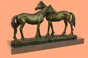 Horse Lovers Real Bronze Horses Dual Bust Sculpture Statue Equestrian Decor SALE $299.00