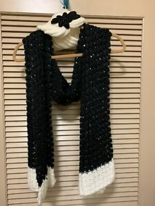 VERSONA Set Of Black And Cream Scarf And Ear Warmer Winter Headband With Sequins $38.00