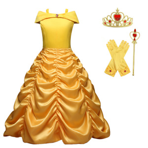 Princess Belle Yellow Off Shoulder Layered Costume Dress With Accessories 2 10T