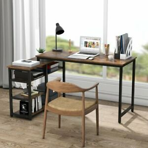 Computer Writing Desk with Shelf Modern Furniture for Home Office or Study Room $155.58