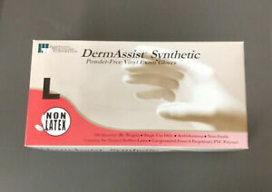 New Unopened Large DermAssist Vinyl Exam Gloves 100 Pcs Powder Free
