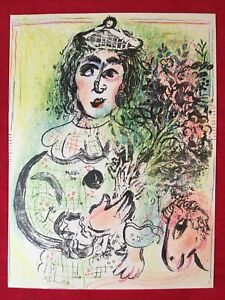 Marc Chagall Clown With Flowers orig Stone Lithograph1963Mourlot $375.00