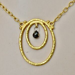 Gurhan Double Oval Black Diamond Pendant Necklace 24K 22K Gold New $2500 Sale