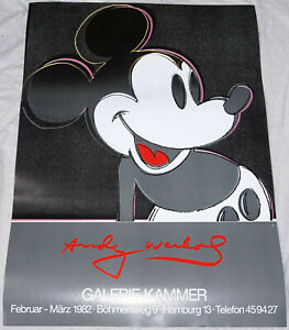 MICKEY MOUSE * Andy Warhol * 33quot; 24quot; exhibition poster * rolled * mint $49.00