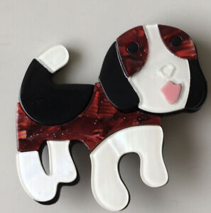 Unique large Dog Brooch Pin In acrylic $16.00