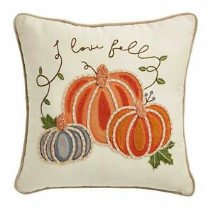 Mud Pie Square Embroidered Pumpkin Pillow $39.99