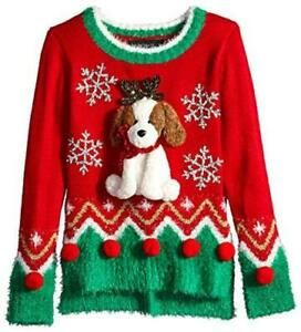 Blizzard Bay Girls Ugly Christmas Sweater Dog red Combo M Red Combo Size