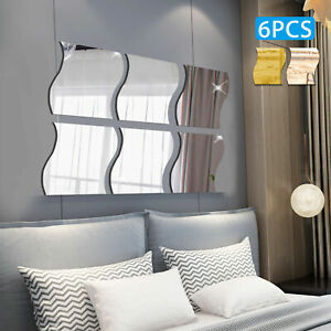 6PCS 3D Mirror Wall Sticker Waves Shape Self adhesive Home Bedroom Wall Decor $7.21