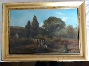 Nice Early Victorian painting o c Genre Family Group in Landscape dog child $279.95