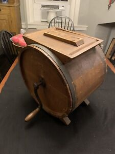 Antique Wooden Crank Butter Churn No 2 Improved Great Cow Graphics $125.00