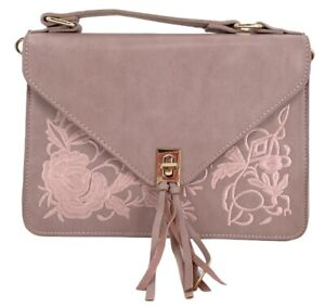 Urban Outfitters Dusty Pink Cross Body Bag Gold Accents Floral Design Adjustab