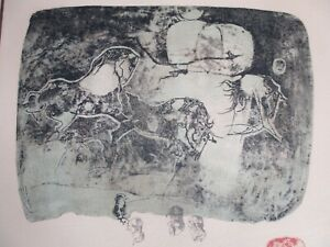 Hoi Lebadang Aquatint Horses Etching With Embossing Signed Numbered 116 275 $525.00