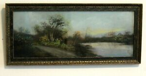 Antique Original Pastel Painting Landscape Ornate Wooden Frame Sunset Tree Water $120.00