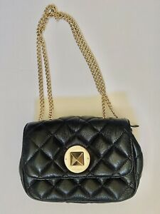 Kate Spade Quilted Black Leather Shoulder CrossBody Purse w Gold Chain Hardware