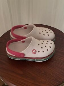 Pink With Stripes Crocc Girls Size 10