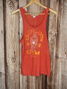 VTG Golds Gym Tank Top Mens Sleeveless M Bodybuilding Made in USA Red Gold $29.99