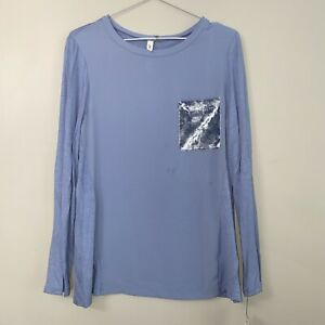 NY Collection Womens Blue Velvet Pocket Tee Top Blouse Shirt Size M NWT $17.99