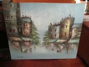 Mid Century Impressionist Cityscape Oil Painting 20quot; X 16quot; signed COOPER $75.00