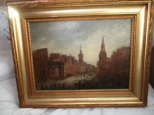 Antique Painting 1800s cityscape 15quot; x 18quot; old gold frame signed on back $250.00