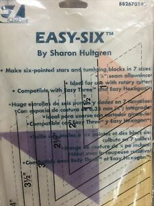 Easy Six Sharon Hultgren EZ Quilting Ruler 6 Pointed Stars Blocks Wrights $14.28