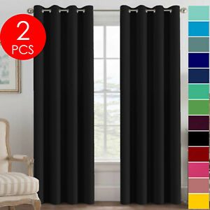 Set of 2 Grommet Thermal Insulated Blackout Curtains for Living Room or Bedroom $23.99