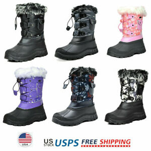 Kids Boys Girls Snow Boots Faux Fur Lined Insulated Waterproof Winter Ski Boots $25.99