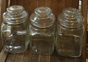 """Vtg 3 Clear Glass Rectangle Apothecary Storage Canister W Lid Around 7"""" Tall"""