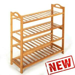 4 SHOE RACK TIER NATURAL BAMBOO WOODEN ORGANIZER STAND STORAGE SHELF UNIT $19.51