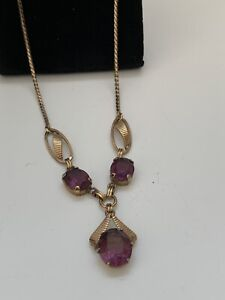 Vintage Signed Van Dell 1 20 12K GF Amethyst Necklace GORGEOUS $35.00