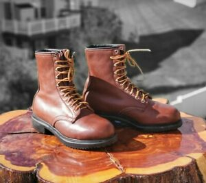 Redwing Boots Vintage Mens Size 6.5 D 8quot; brown model 03025 gusseted work boots
