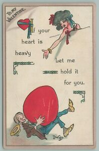 Dwig Valentine Man Falls Under Large Heavy Heart Lady Offers To Hold It For Him $11.00