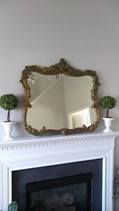 Antique LARGE Ornate Wood Gold Gilt Mirror rare DETAIL shabby chic victorian $789.87
