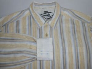 Tommy Bahama Mens Designer Long Sleeve Striped 100% Linen Casual Shirt Large
