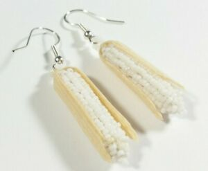 NAVAJO NAOMI GARCIA STERLING WHITE CORN SEED BEADS 2quot; X 5 16quot; HOOK EARRINGS