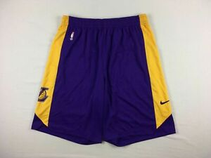 Los Angeles Lakers Nike Shorts Mens Purple Yellow Dri Fit NEW Multiple Sizes $44.99