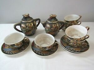Antique Moriage Satsuma Hand Painted Immortals 14 Piece Tea Set Japan Rare