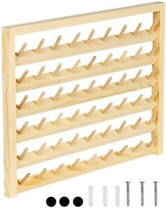 HAITRAL 54 Spool Wooden Sewing Wall Mounted Sewing Thread Holder with Hooks $17.99