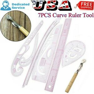 7PCS Plastic French Straight Curve Stick Pattern Design DIY Sewing Ruler Tailor $11.93