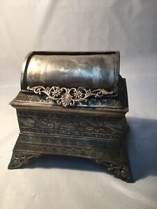 Vintage Nice Jewelry Box Antique Roll Top Silverplate Trinket Jewelry Box
