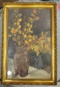 Antique Oil Painting Still Life On CANVAS Board $225.00