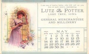 Lone Tree Iowa Lutz amp; Potter General Merchandise Millinery May Lady 1911 PC $9.00