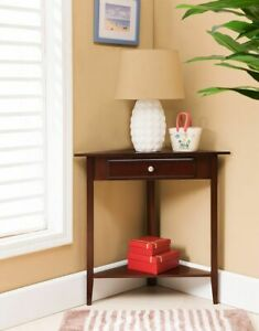 Kings Brand Furniture Wood Corner Sofa Accent Table with Drawer Walnut $99.99