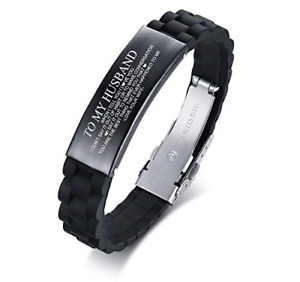 PJ JEWELLERY to My Husband Silicone Wristband Love Quote Engraved Bracelets for